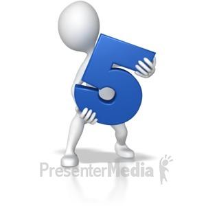 ID# 7794 - Stick Figure Holding Five - Presentation Clipart
