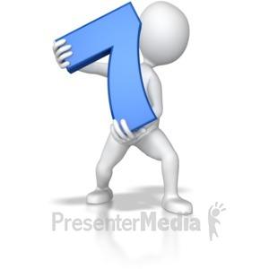 ID# 7796 - Stick Figure Holding Seven - Presentation Clipart