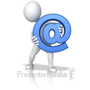 ID# 7800 - Stick Figure Holding At Sign - Presentation Clipart