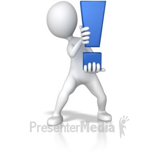 ID# 7801 - Stick Figure Holding Exclamation Mark - Presentation Clipart