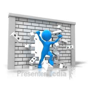 ID# 7817 - Freedom Breaking Through Wall - Presentation Clipart