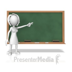 ID# 7852 - Woman At Chalk Board - Presentation Clipart
