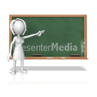 Woman At Chalk Board PowerPoint Clip Art