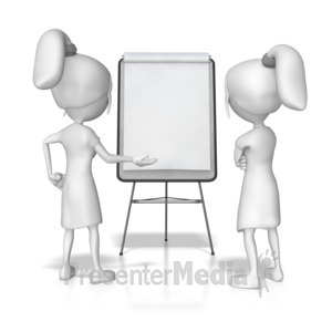 ID# 7858 - Women Flipboard Discussion - Presentation Clipart