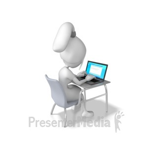 ID# 7859 - Woman Working Laptop Desk - Presentation Clipart
