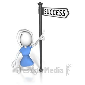 ID# 7860 - Woman Pointing At Success - Presentation Clipart