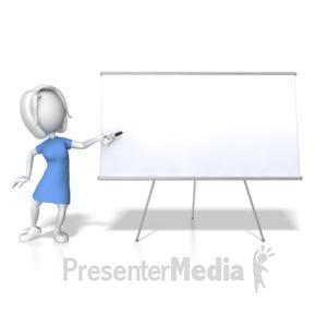 ID# 7861 - Woman Presenting Blank Board - Presentation Clipart