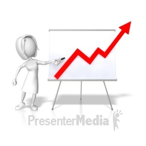 ID# 7862 - Woman Presenting Graph Increase - Presentation Clipart