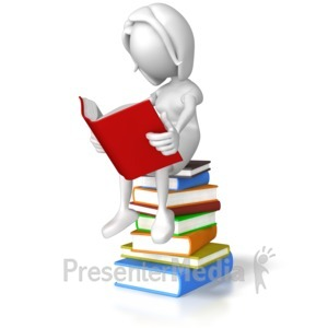 ID# 7865 - Woman Sitting On Books - Presentation Clipart