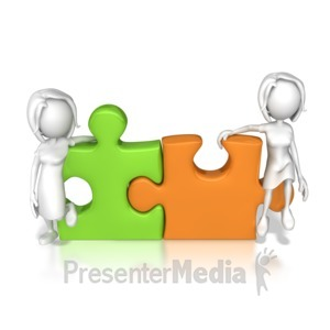 ID# 7872 - Women Puzzle Pieces Connected  - Presentation Clipart