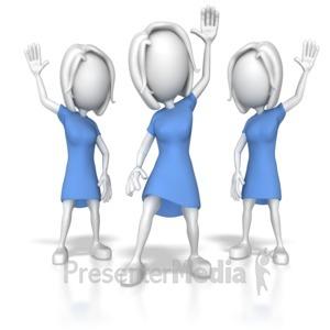 ID# 7873 - Women Raising Hands - Presentation Clipart