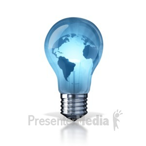 ID# 7879 - World Energy Light Bulb - Presentation Clipart