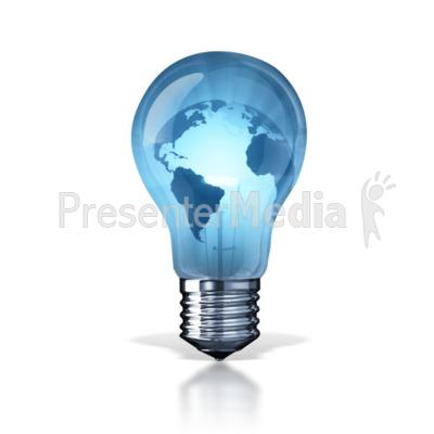 World Energy Light Bulb PowerPoint Clip Art