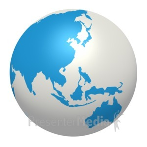 ID# 7907 - Blue White Earth Asia Pacific Region - Presentation Clipart