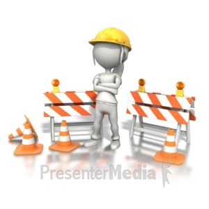ID# 7940 - Woman Standing Construction Site - Presentation Clipart