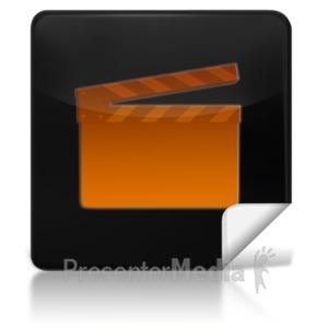 ID# 7966 - Movie Square Icon - Presentation Clipart