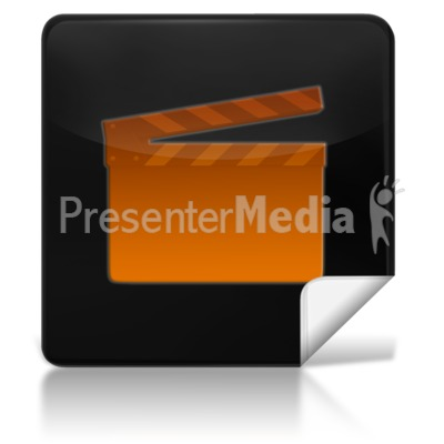 Movie Square Icon PowerPoint Clip Art