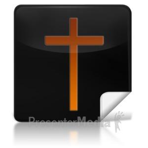 ID# 7970 - Religious Cross Square Icon - Presentation Clipart