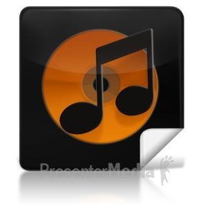 ID# 7971 - Music Square Icon - Presentation Clipart