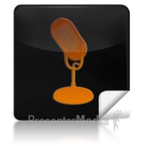 ID# 7973 - Microphone Square Icon - Presentation Clipart