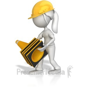 ID# 7985 - Woman Picking Up Construction Cones - Presentation Clipart