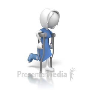 ID# 7999 - Woman on Crutches - Presentation Clipart