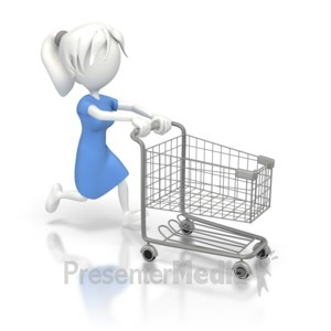 ID# 8016 - Woman Running with a  Shopping Cart - Presentation Clipart