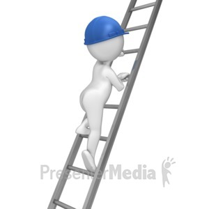 ID# 8026 - Stick Figure Climbing Ladder - Presentation Clipart