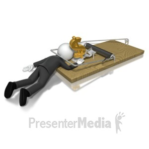 ID# 8036 - Business Man Money Trap - Presentation Clipart