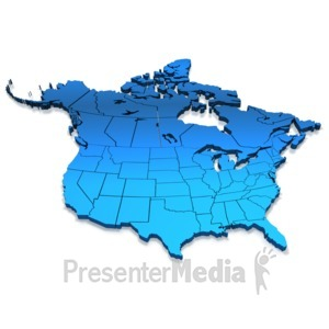 Presenter media powerpoint templates 3d animations and clipart id 8060 north america blue map presentation clipart toneelgroepblik Images