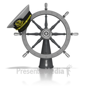 ID# 8067 - Captains Hat On Helm - Presentation Clipart