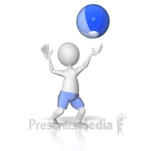 ID# 8083 - Stick Figure Hitting Beach Ball - Presentation Clipart