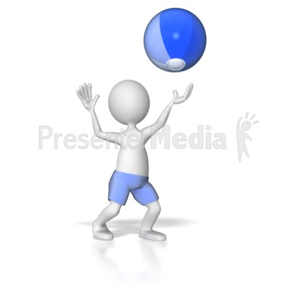 Stick Figure Hitting Beach Ball PowerPoint Clip Art