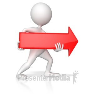 ID# 8108 - Stick Figure Pointing Red Arrow Right - Presentation Clipart