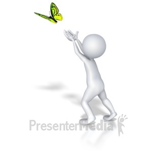 ID# 8110 - Stick Figure Butterfly Release - Presentation Clipart