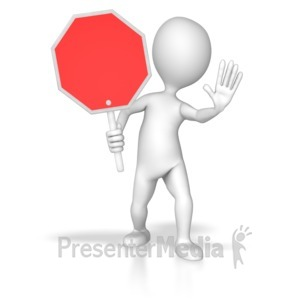 ID# 8111 - Stick Figure Holding Stop Sign - Presentation Clipart