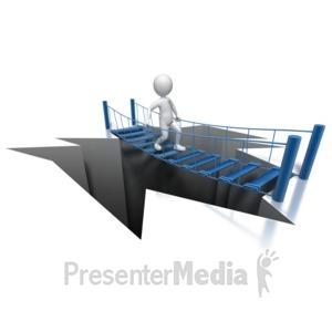 ID# 8131 - Stick Figure Bridging Gap - Presentation Clipart
