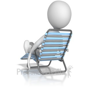 ID# 8152 - Stick Figure Lounging In a Lawn Chair - Presentation Clipart