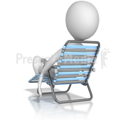 Stick Figure Lounging In a Lawn Chair PowerPoint Clip Art