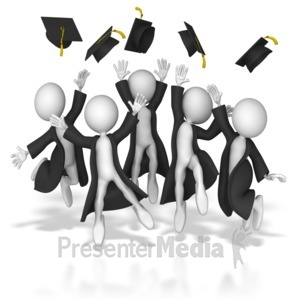 ID# 8162 - Grads Throwing Up Hats - Presentation Clipart