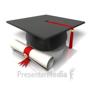 ID# 8164 - Diploma Hat Graduation - Presentation Clipart