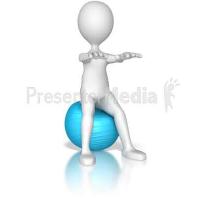 Stick Figure Squatting  on a Exercise Ba PowerPoint Clip Art