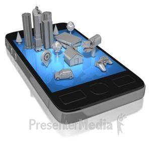 ID# 8181 - Smart Phone Social Life Mono - Presentation Clipart