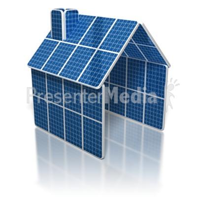 Solar Panel House PowerPoint Clip Art