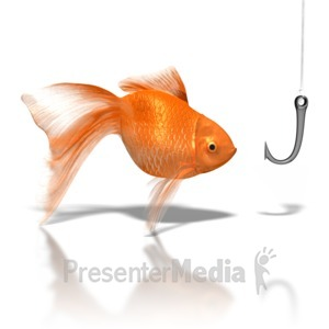 ID# 8223 - Goldfish Looking At Hook - Presentation Clipart