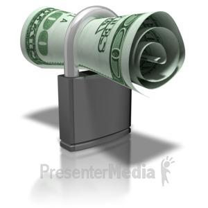 ID# 8235 - Money In Lock - Presentation Clipart