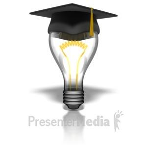 ID# 8243 - Graduate Lightbulb - Presentation Clipart