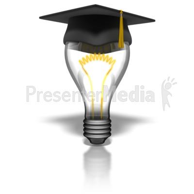 Graduate Lightbulb PowerPoint Clip Art