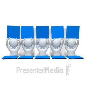 ID# 8305 - Stick Figures Holding Cards - Presentation Clipart