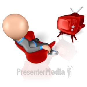 ID# 8338 - Stick Figure Watching TV - Presentation Clipart